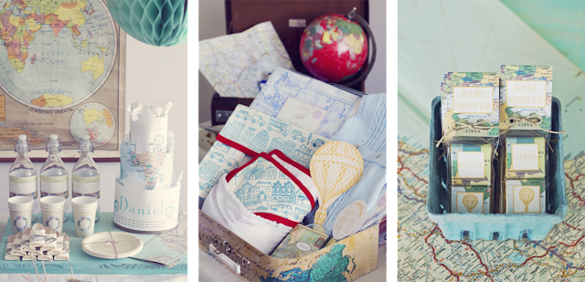Baby shower geográfico, temática viajes