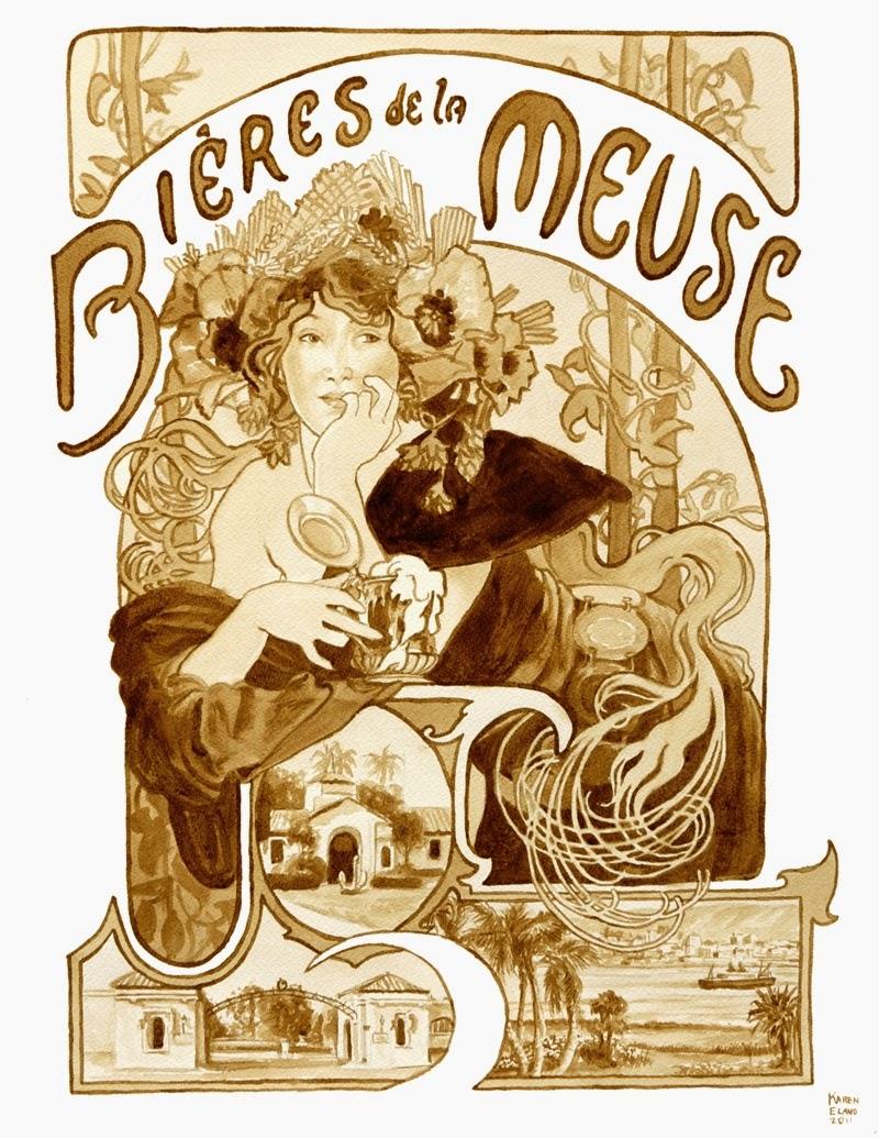 05-Bieres-la-Meuse-Karen Eland-Vintage-Looking-Beer-and-Water-Paintings-www-designstack-co