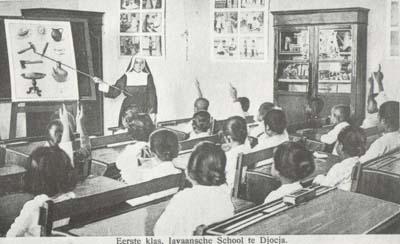 ilustrasi sekolah zaman kolonial yang diikuti pula oleh wanita Jawa