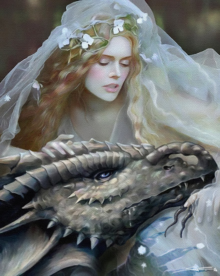 Lady Dragon- illustration Corel Painter 2019 Pastel, Watercolors, Blenders, Blur,Airbrush, Oil and