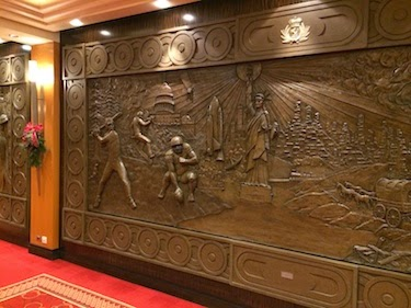 Chuck and Lori's Travel Blog - Bronze Relief Artwork on the Queen Mary 2