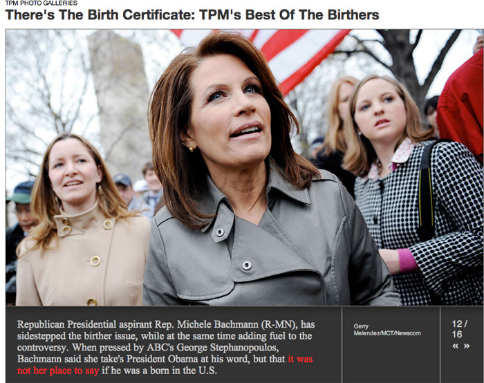 michele bachmann quo. Michele Bachmann Makes the Birther Hall of Shame