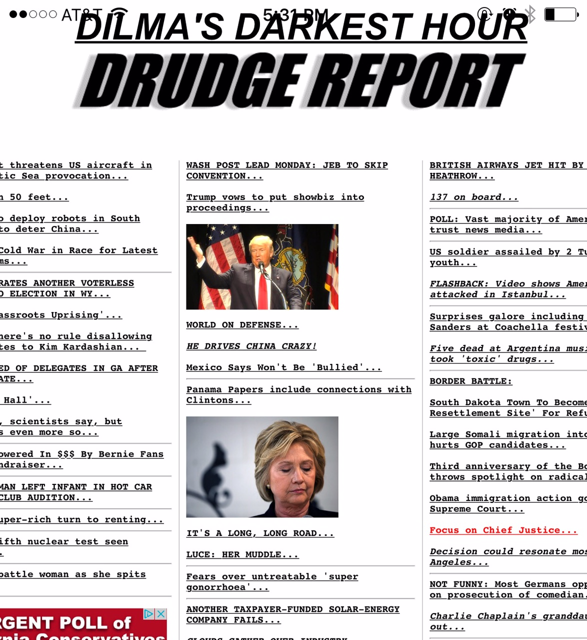 April 17, 2016: We made DRUDGE REPORT... Kind of