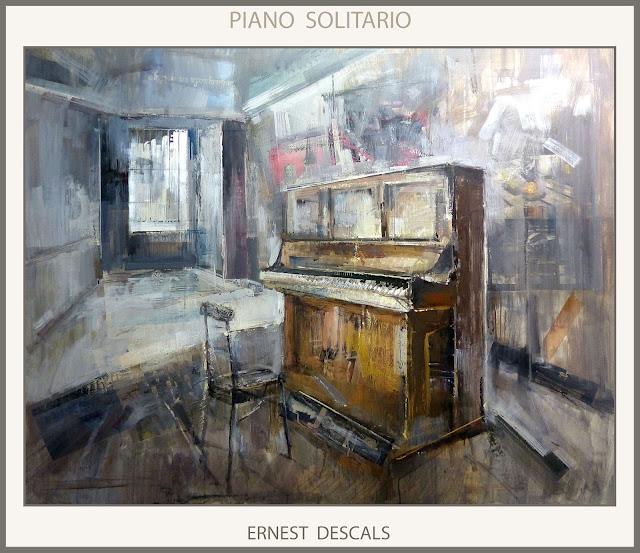 PIANO-PINTURAS-ARTISTA-PINTOR-ERNEST DESCALS-PINTURA-CUADROS-INTERIORES-GRAN FORMATO