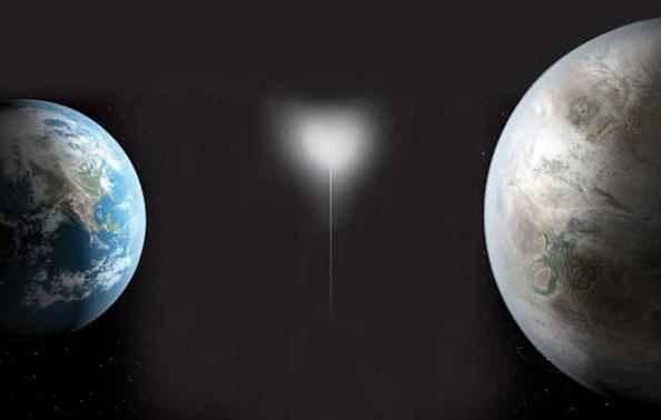Perbandingan ukuran Bumi (kiri) dengan planet Kepler-452b (kanan)