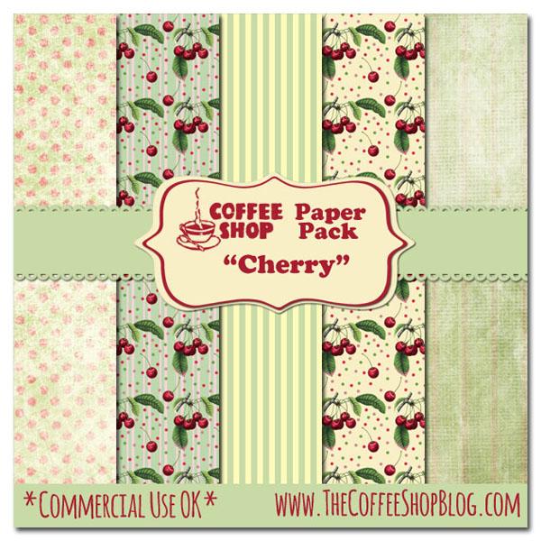 "CoffeeShop ""Cherry"" Digital Paper Set! CoffeeShop+Cherry+Paper+Pack+ad+copy"
