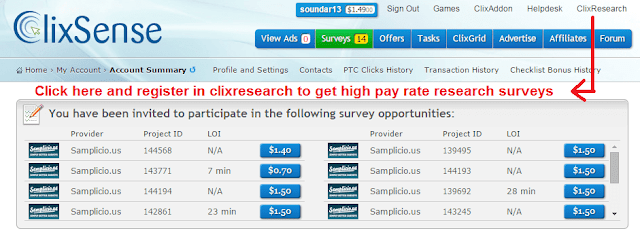 Clix research registration