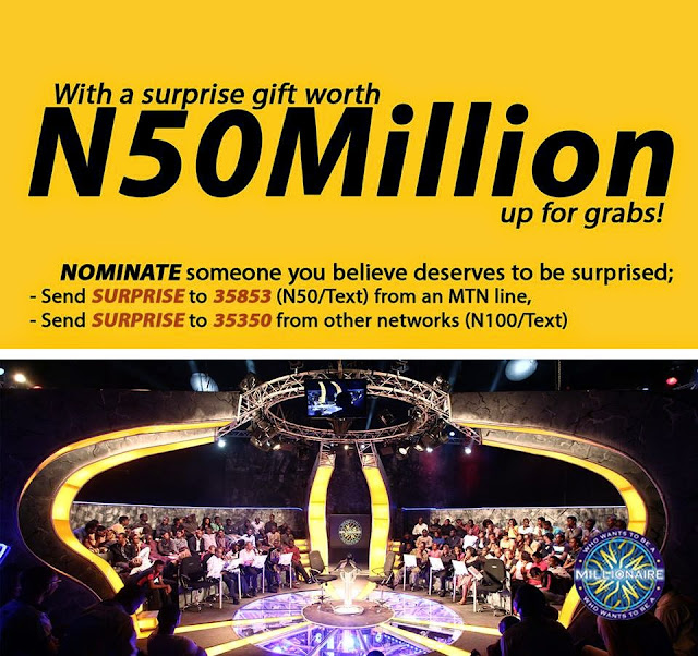 #WWTBAM and MTN Surprise a friend with N50,000,000.