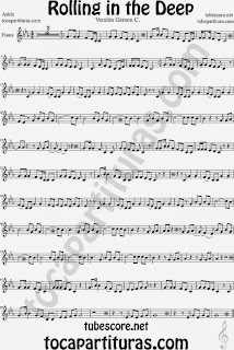 Rolling In The Deep Partitura de Flauta Sheet Music for Flute