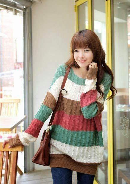model sweater rajut korea cantik wanita