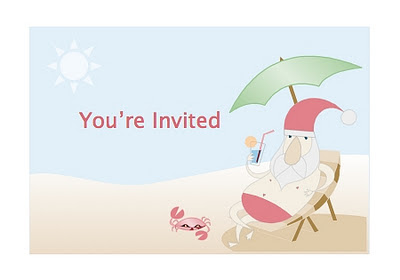 Free Party Invitation from the Summer Santa Stationery Set created by Robert Aaron Wiley for Microsoft Office Online