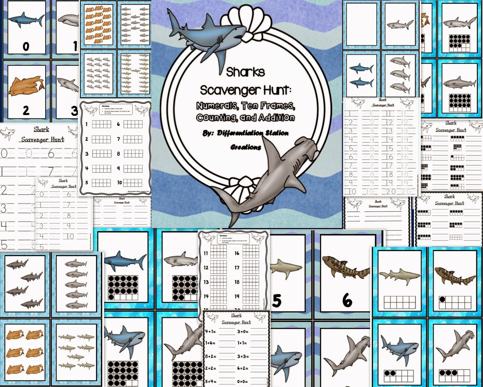 http://www.teacherspayteachers.com/Product/Sharks-Math-Scavenger-Hunt-Numerals-Ten-Frames-Counting-and-Cardinality-1090601