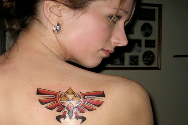 Hot high school Girls with Zelda triforce tattoo on back side of her shoulder