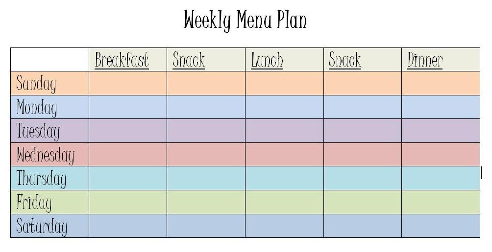 weekly dinner menu planning template