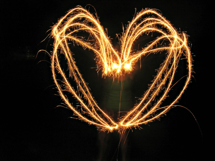 heart with sparklers