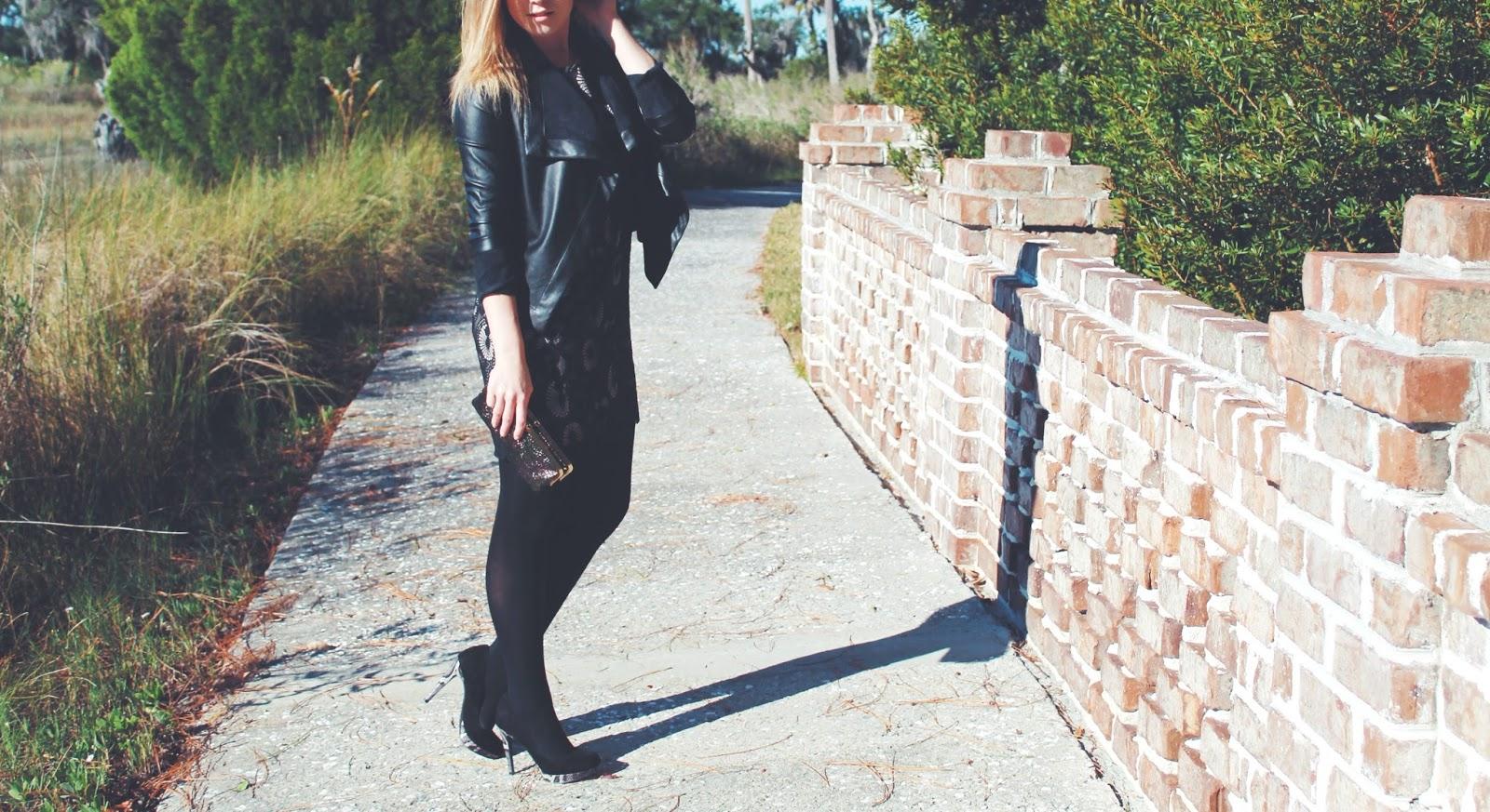 What I Wore: Little Black Dress Revamped, black leather blazer, little black dress, LBD, outfit of the day, what i wore, layering for winter, bb dakota, loft dresses, women's black leather blazer