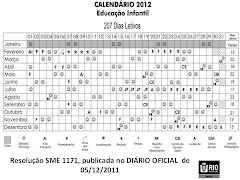 Calendário -  2012   -  Educação  Infantil