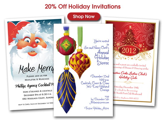 20% Off Holiday Party Invitations - Christmas, Hanukkah, New Year's Eve