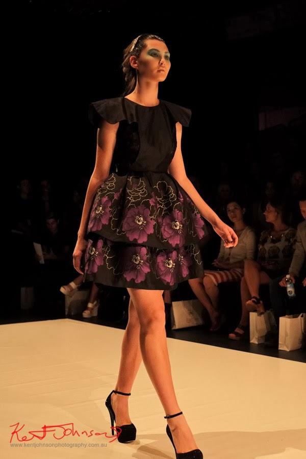 Stella Sutrisno; floral skirt -  New Byzantium : Raffles Graduate Fashion Parade 2013 - Photography by Kent Johnson.