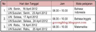 Jadwal Ujian Nasional SMK 2012