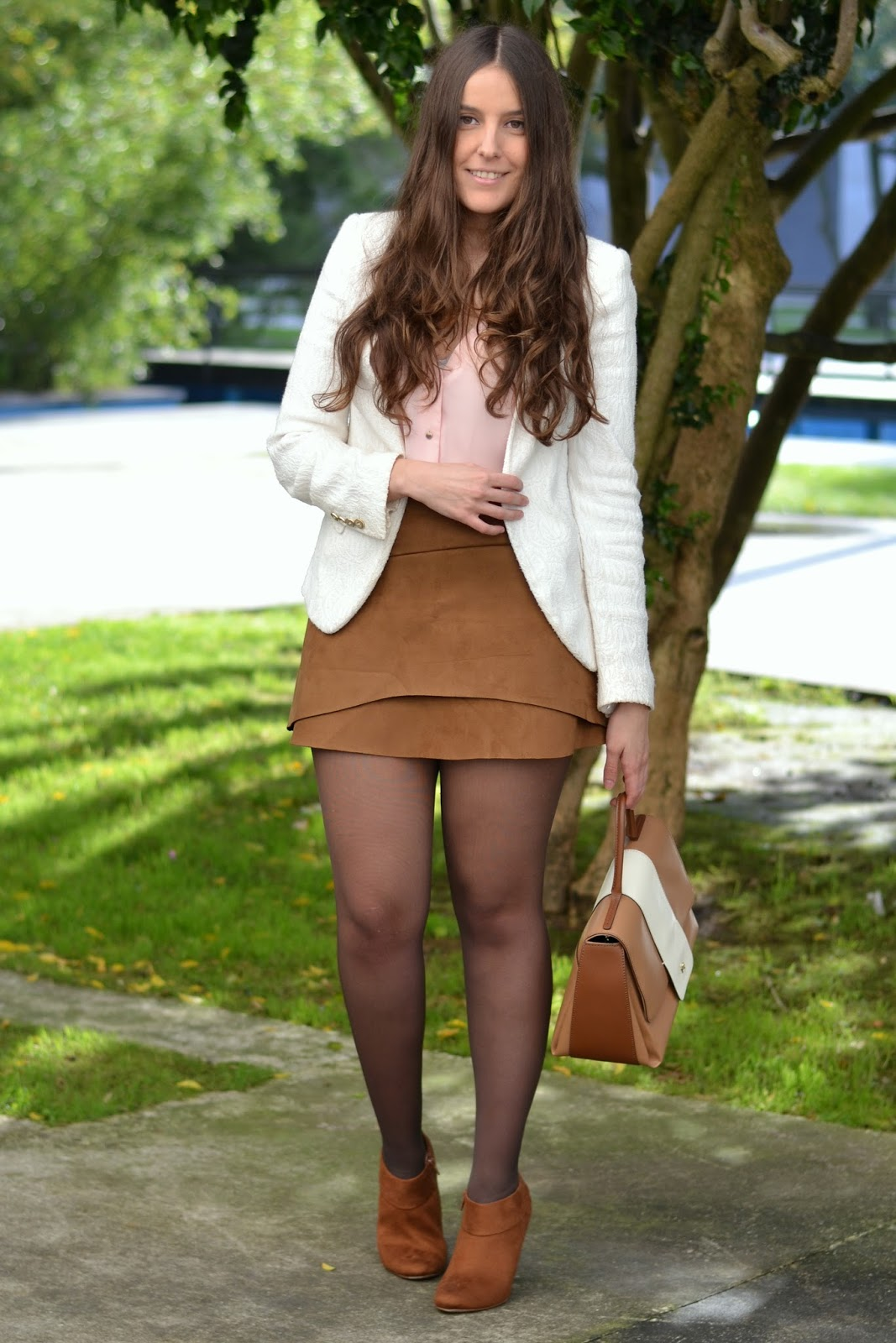 suede, skirt, white, blazer, pink, shirt, tribeca