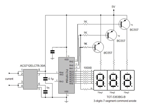 pic16f684 digital ammeter