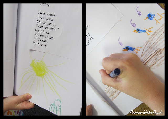 photo of: kindergarten journal for spring, children's artwork illustrations, spring poem