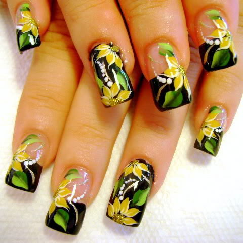 Yellow and Green Flowery Nail Art