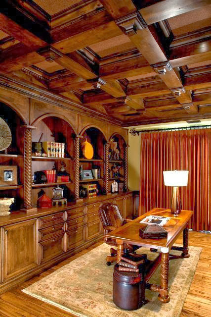 a workspace with strong wood accent in every furniture it has including the exposed