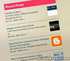Cara Memasang Recent Post atau Posting terbaru di Blogspot
