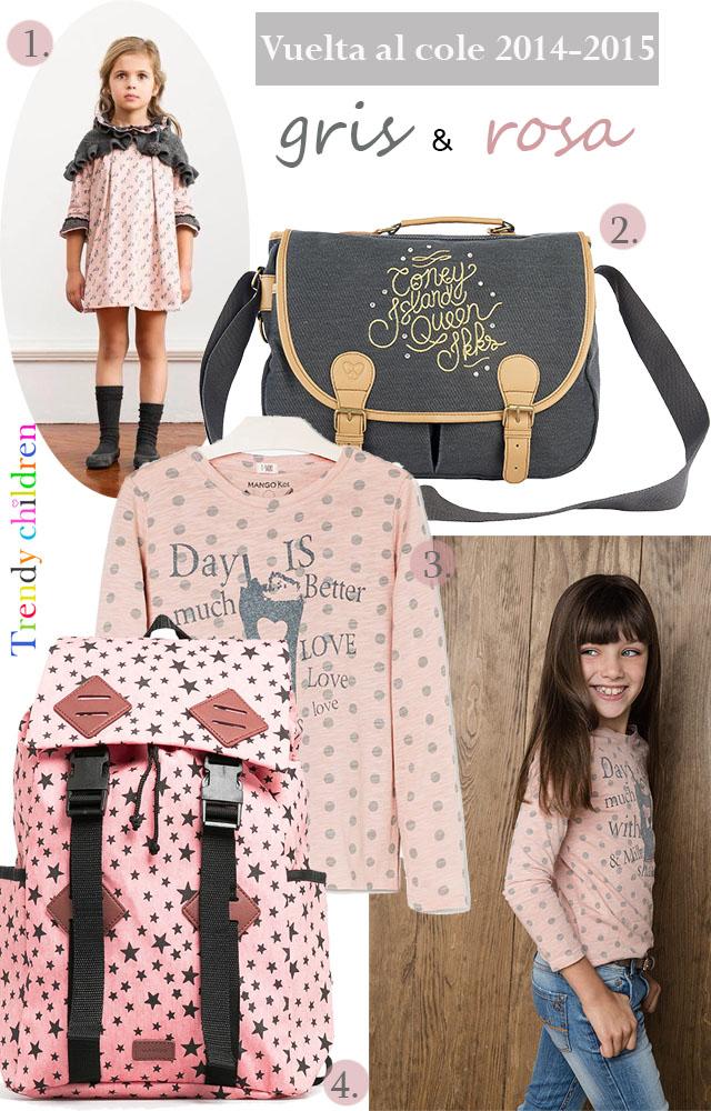 mochila estrellas mango kids, vestido rosa y gris nanos cartera ikks vuelta al cole 2014 2015