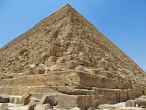 Base detail of Khufu, Great Pyramids of Egypt, Giza Plateau