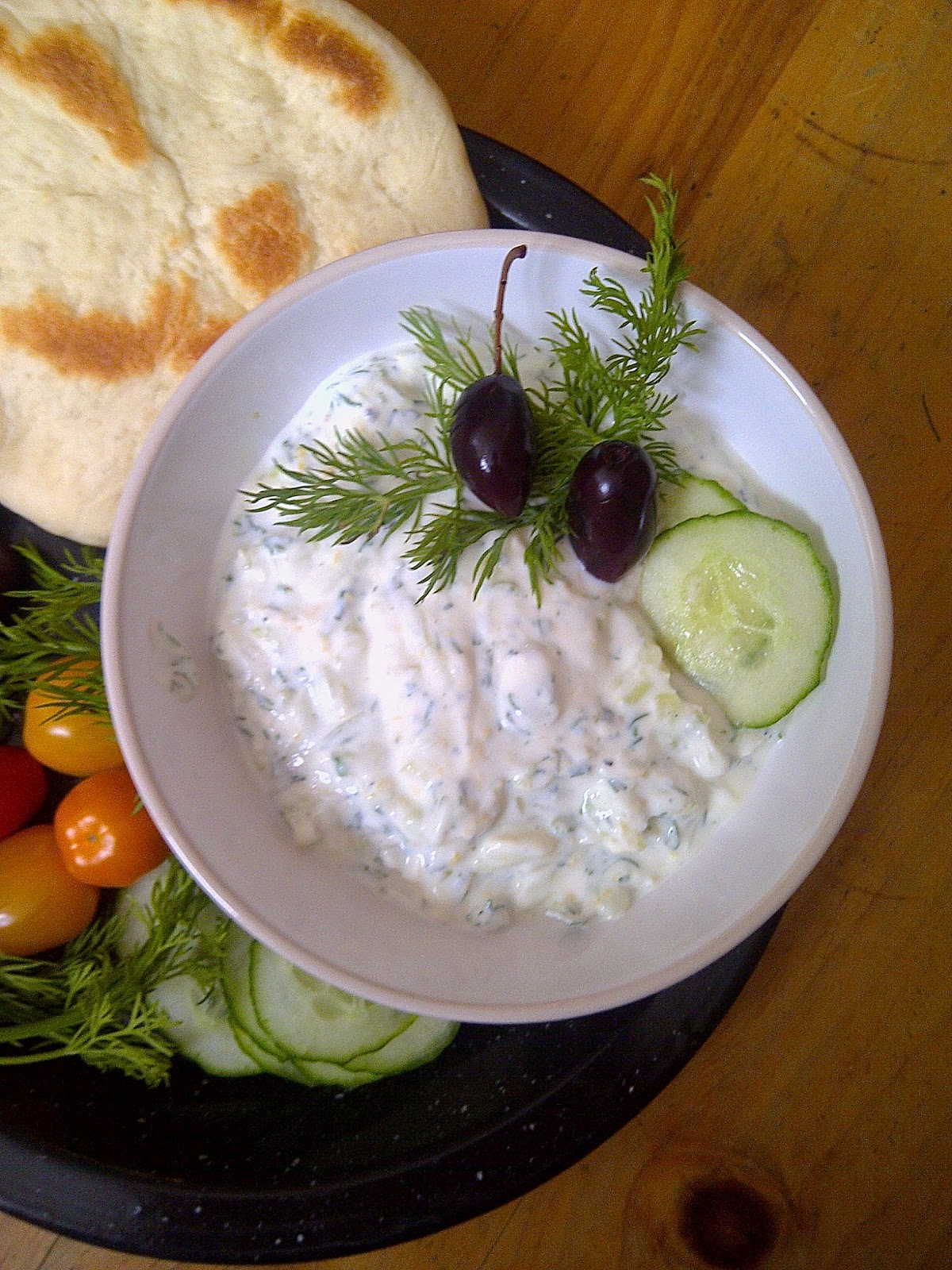 Tzatziki ~ Greek Yogurt, Cucumber, Dill, Mint & Lemon blended for your dipping pleasure!  ~ www.soliloquyoffood via LoveBakesGoodCakes