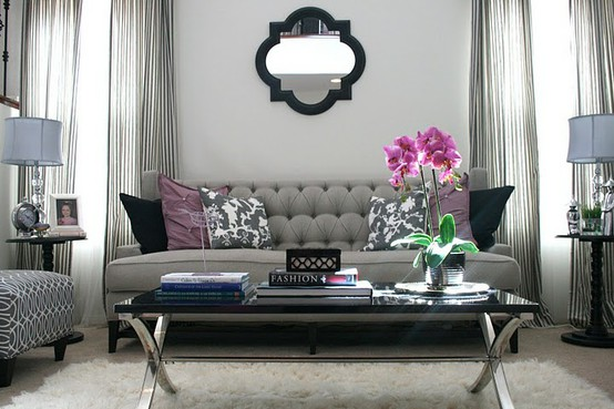 Lush fab glam blogazine home decor ideas who knew grey for Purple and grey living room ideas