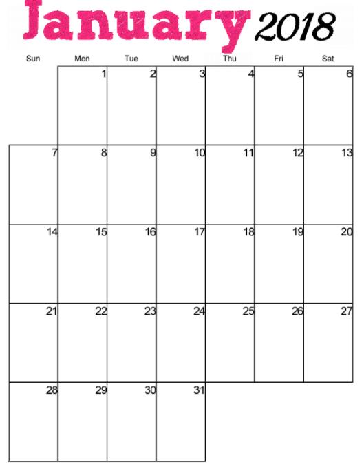 Musings of an Average Mom: 2018 Pink vertical calendar