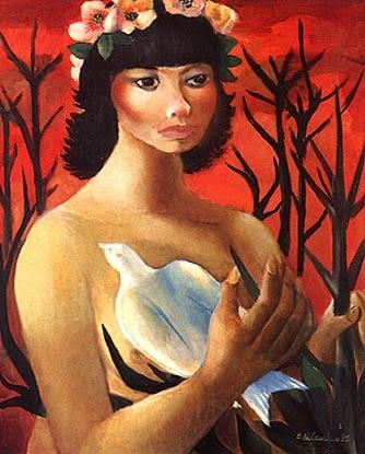 pintura de mulata e pássaro
