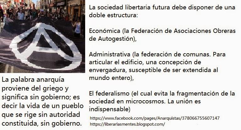 Anarquía,anarquistas, anarquismo, anarquistas,Anarquismo, anarquistas, anarquía,    2 Etapa Anarquistas https://www.facebook.com/pages/Anarquistas/378066755607147  LA ORGANIZACIÓN DE LA ECONOMÍA EN UNA SOCIEDAD ANARQUISTA O DURANTE LA ETAPA DE TRANSICIÓN REVOLUCIONARIA HACIA LA ANARQUÍA  Revolución social libertaria indispensable http://paginaswebanarquista.blogspot.com.es/2014/11/revolucion-social-libertaria.html  Asegurar la existencia y el funcionamiento libre de la sociedad http://paginaswebanarquista.blogspot.com.es/2014/11/asegurar-la-existencia-y-el.html   Amplia recepción del anarquismo social http://paginaswebanarquista.blogspot.com.es/2014/11/amplia-recepcion-del-anarquismo-social.html  Libertad de experimentación http://paginaswebanarquista.blogspot.com.es/2014/11/libertad-de-experimentacion.html  Esbozos sociales y económicos libertarios http://paginaswebanarquista.blogspot.com.es/2014/11/esbozos-sociales-y-economicos.html  Base de la nueva sociedad: la Comuna libre http://paginaswebanarquista.blogspot.com.es/2014/11/base-de-la-nueva-sociedad-la-comuna.html  Del sindicato revolucionario y de sus funciones http://paginaswebanarquista.blogspot.com.es/2014/11/del-sindicato-revolucionario-y-de-sus.html Sobre el salario o remuneración http://paginaswebanarquista.blogspot.com.es/2014/11/sobre-el-salario-o-remuneracion.html  Distribución y consumo http://paginaswebanarquista.blogspot.com.es/2014/11/distribucion-y-consumo.html  Organismos de la revolución http://paginaswebanarquista.blogspot.com.es/2014/11/organismos-de-la-revolucion.html  Consejos sociales y económicos http://paginaswebanarquista.blogspot.com.es/2014/11/consejos-sociales-y-economicos.html  Consideraciones generales http://paginaswebanarquista.blogspot.com.es/2014/11/consideraciones-generales.html   Sustituir al Municipio por una Base de la nueva sociedad: la Comuna libre (Organización social libertaria) http://paginaswebanarquista.blogspot.com.es/2014/10/base-de-la-nueva-sociedad-la-comuna.html