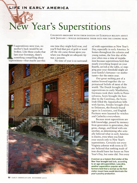 Early American Writings New Year 39 S Superstitions