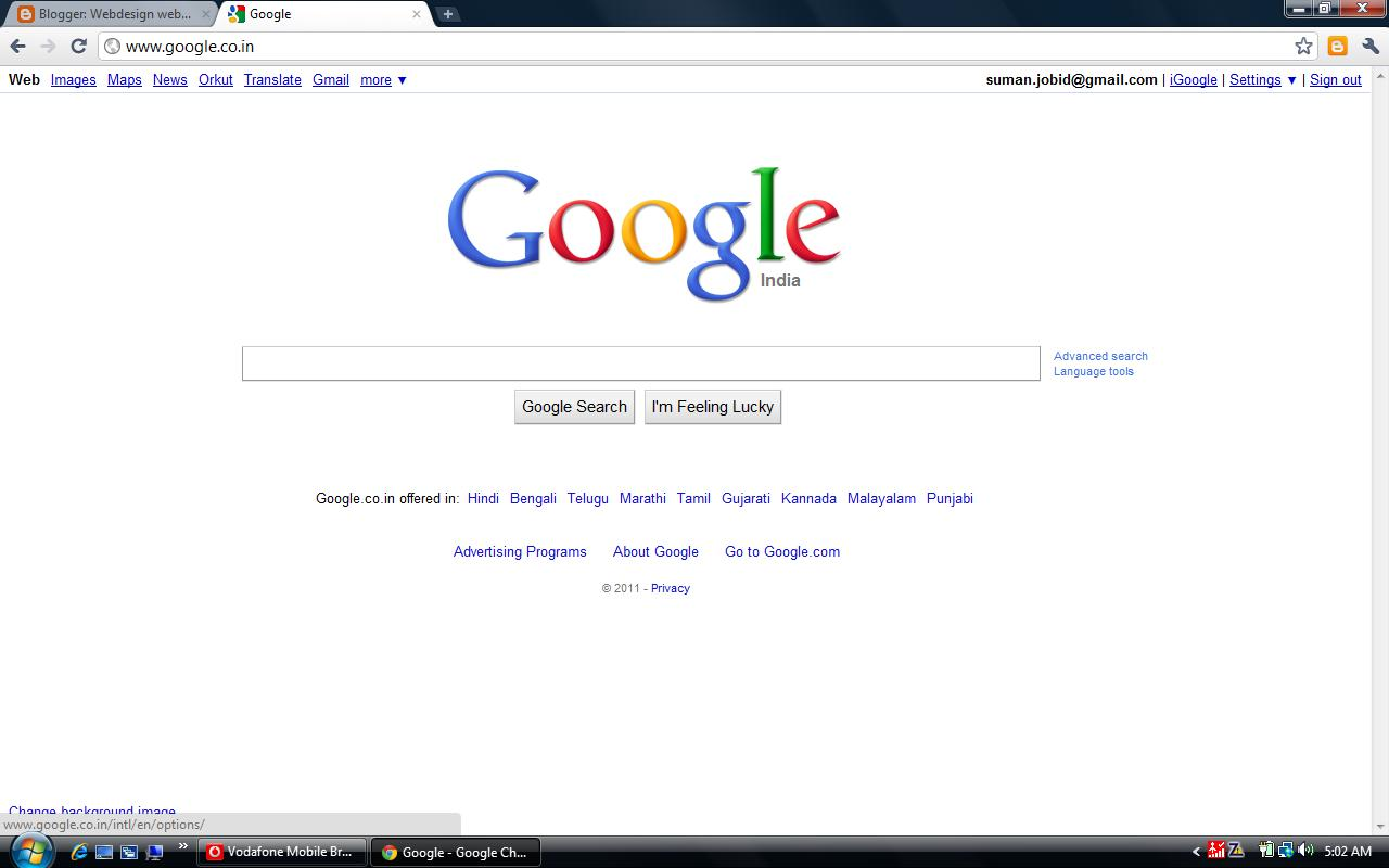 The web browser shows google search page