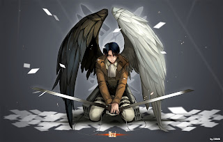 Attack on Titan Shingeki no Kyojin Levi Rivaille Anime Sword Blade White Black Wings HD Wallpaper Desktop Background