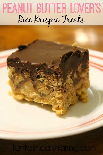 Peanut Butter Lover's Rice Krispie Treats | Blow your family and friends' minds with these peanut butter packed treats!