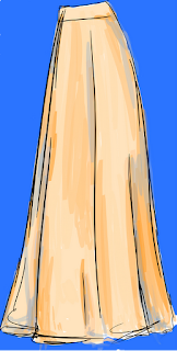 drawing of full length skirt from side