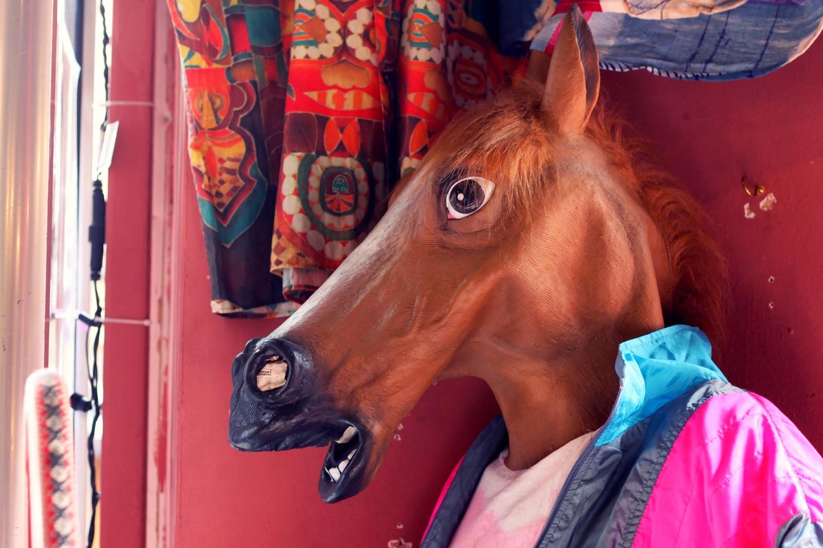 Vintage store Brick Lane, horse head, visual merchandising