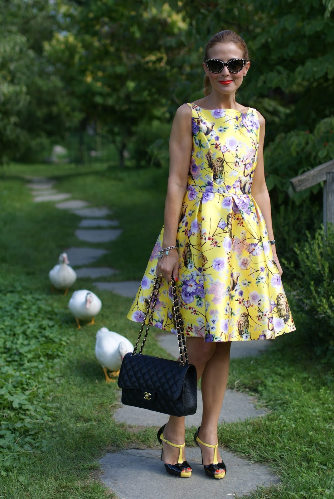 Girly yellow dress and Chanel 2.55 bag on Fashion and Cookies fashion blog