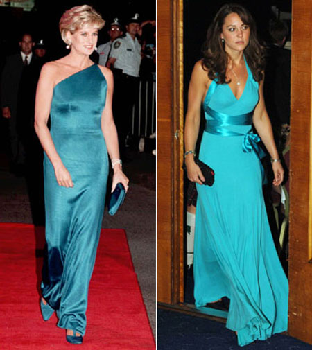 принцеса Даяна и Кейт Мидълтън със сини рокли