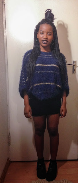 box braids velvet skirt