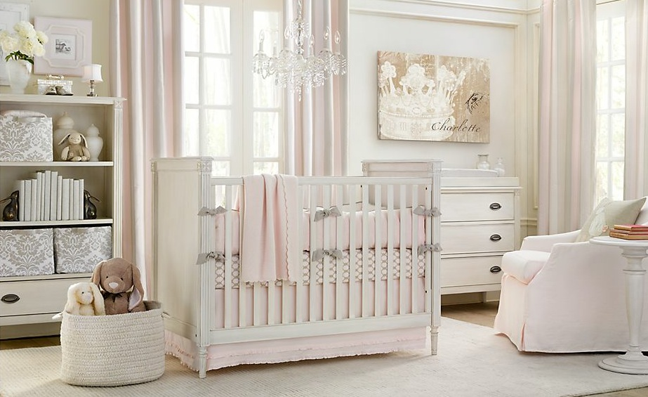 Interior design white and pink baby nusery room for Baby pink bedroom ideas