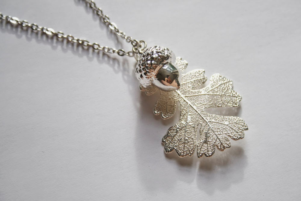 Real leaf necklace - Oak leaf and acorn in silver.