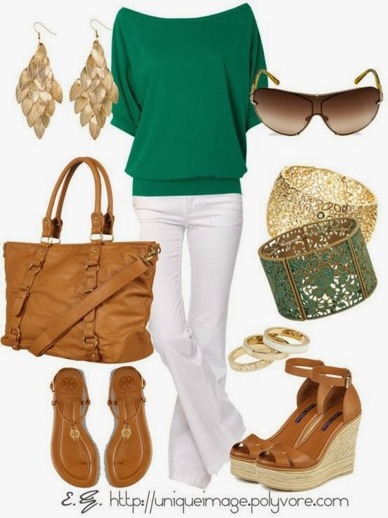 Green blouse, white pants, jewellery and other accessories for fall
