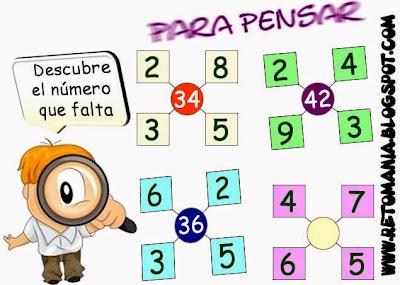 Descubre el Número, El Número que falta, Retos para pensar, Piensa Rápido, Problemas de lógica, Problemas de ingenio, Problemas matemáticos